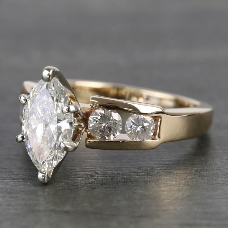 Antique 1 Carat Custom Marquise Diamond Engagement Ring angle 2