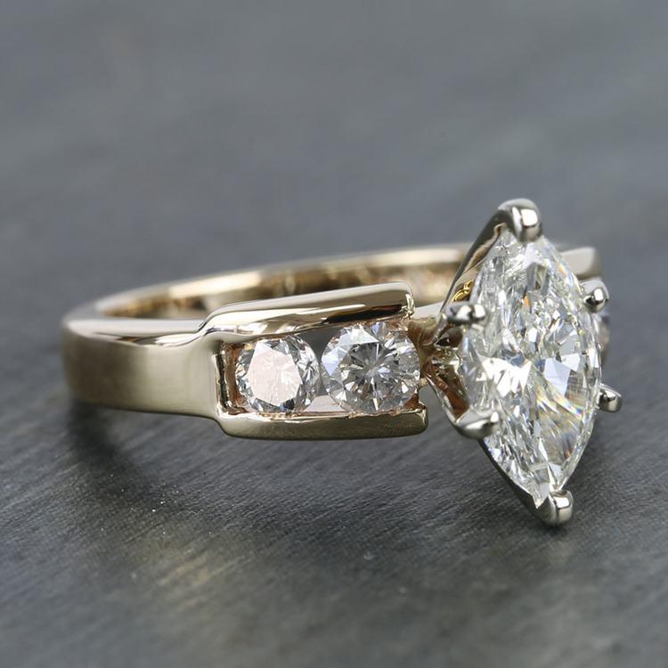 Antique 1 Carat Custom Marquise Diamond Engagement Ring angle 3