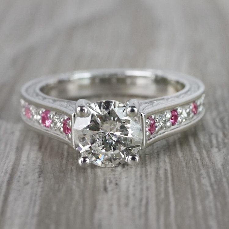 Antique 1 Carat Diamond & Pink Sapphire Ring