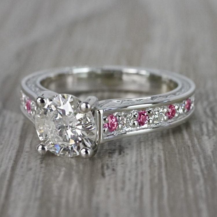 Antique 1 Carat Diamond & Pink Sapphire Ring angle 2