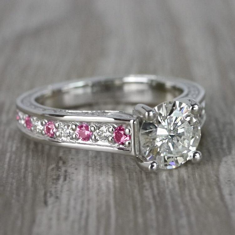 Antique 1 Carat Diamond & Pink Sapphire Ring angle 3