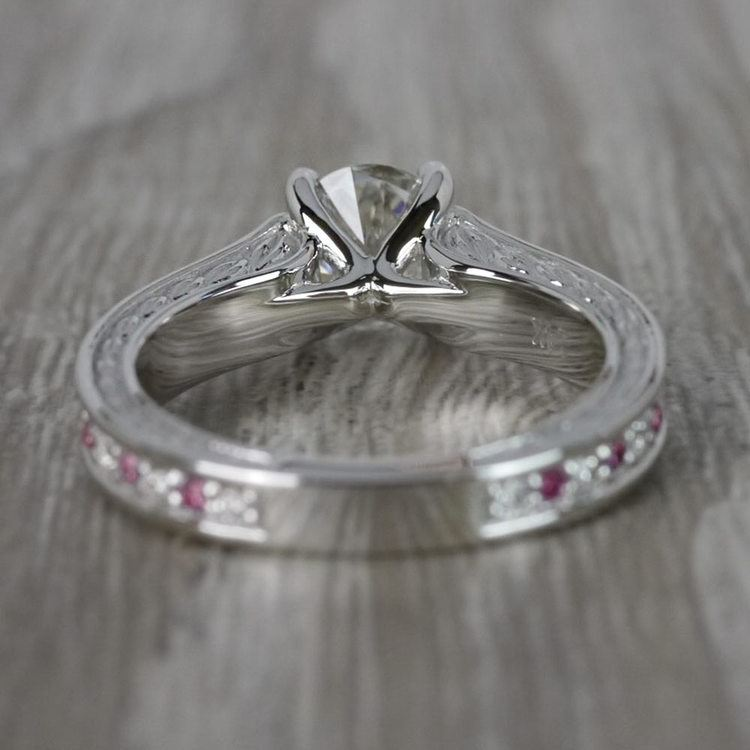 Antique 1 Carat Diamond & Pink Sapphire Ring angle 4