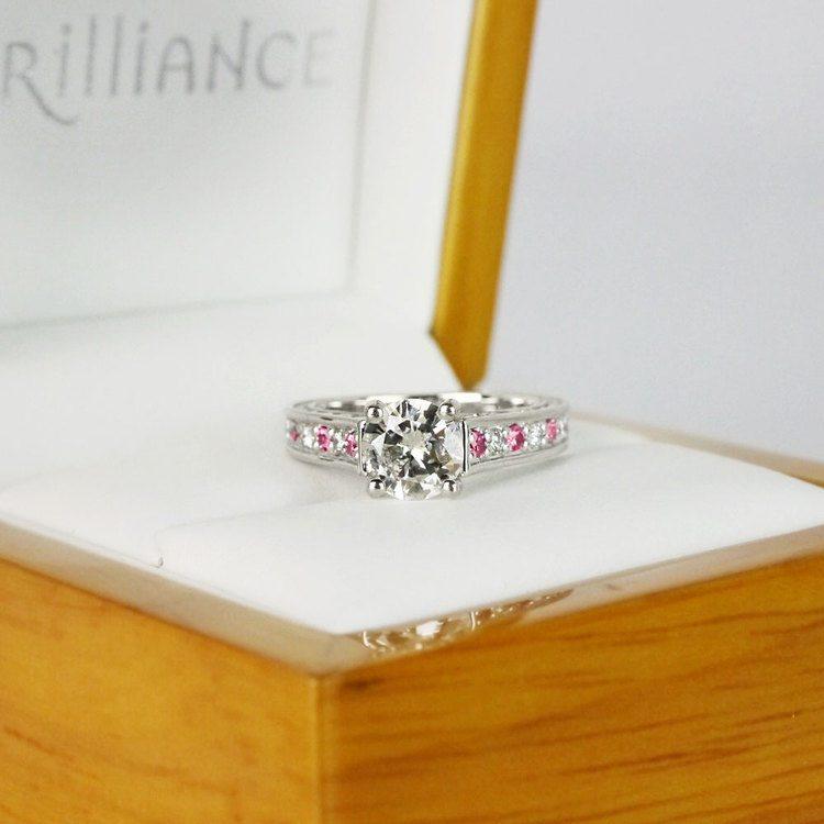 Antique 1 Carat Diamond & Pink Sapphire Ring angle 5