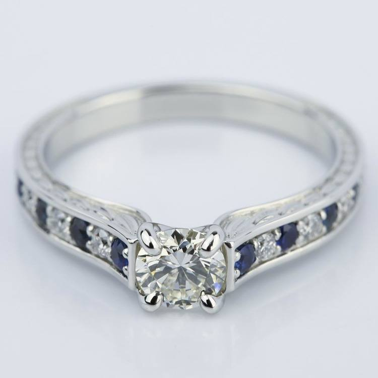 Antique Diamond & Sapphire Gemstone Engagement Ring (0.66 ct.)