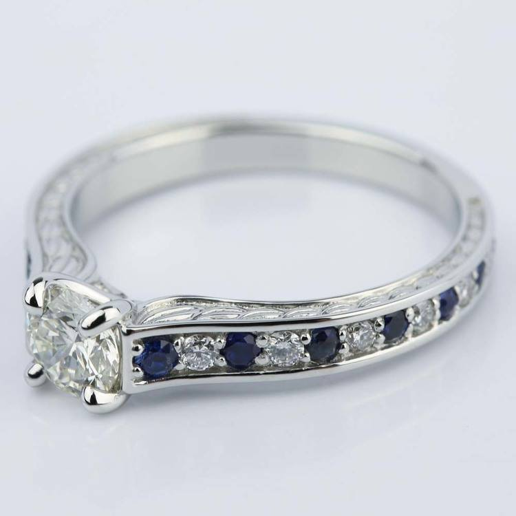 Antique Diamond & Sapphire Gemstone Engagement Ring 0 66 ct
