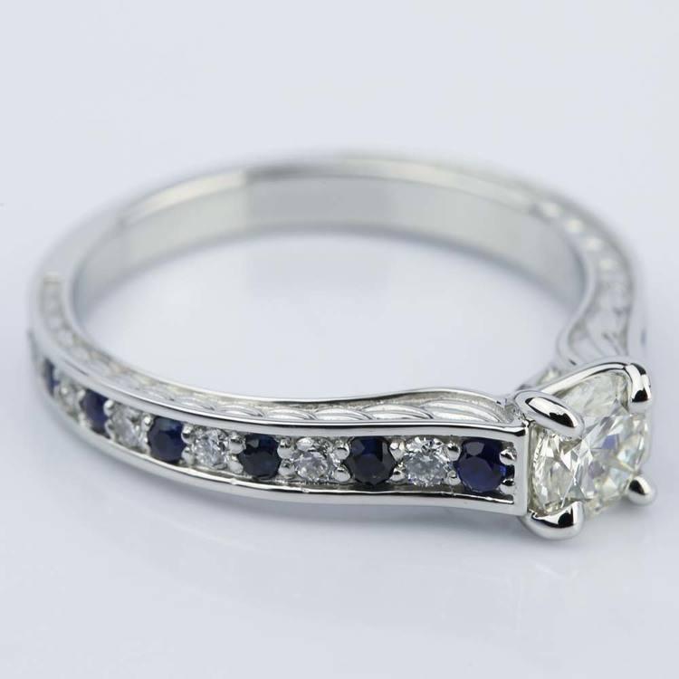 Antique Diamond & Sapphire Gemstone Engagement Ring (0.66 ct.) angle 3