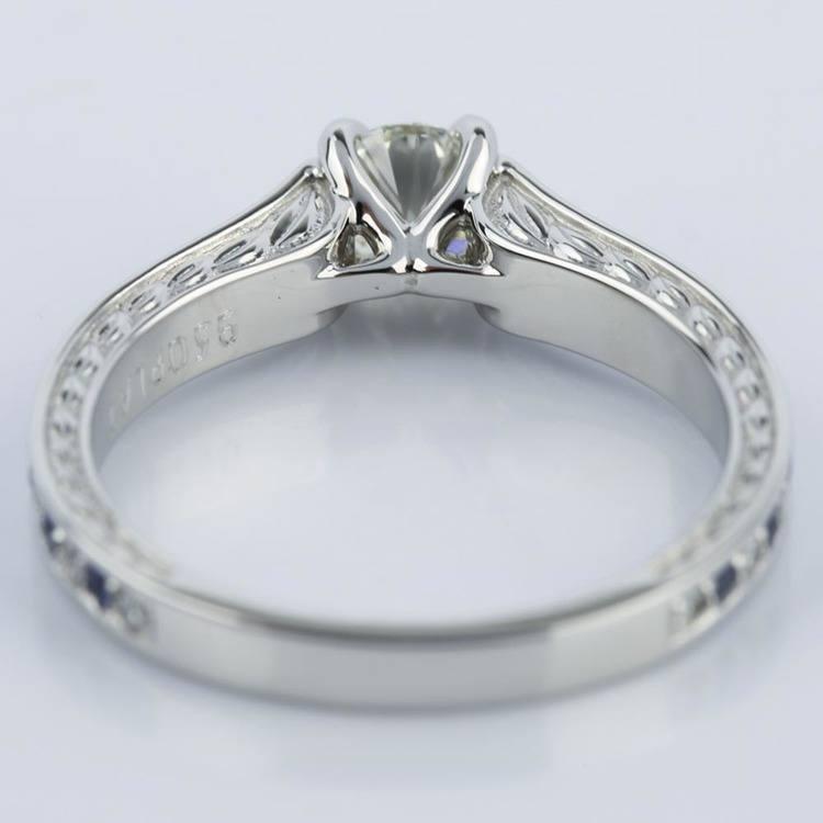 Antique Diamond & Sapphire Gemstone Engagement Ring (0.66 ct.) angle 4