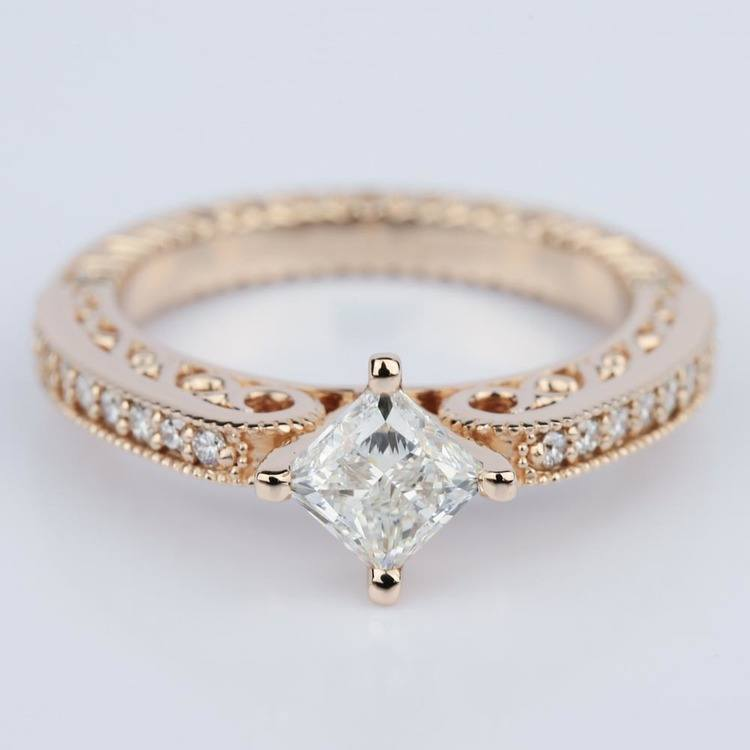 Antique Filigree Princess Diamond Engagement Ring in Rose Gold (1.00 ct.)