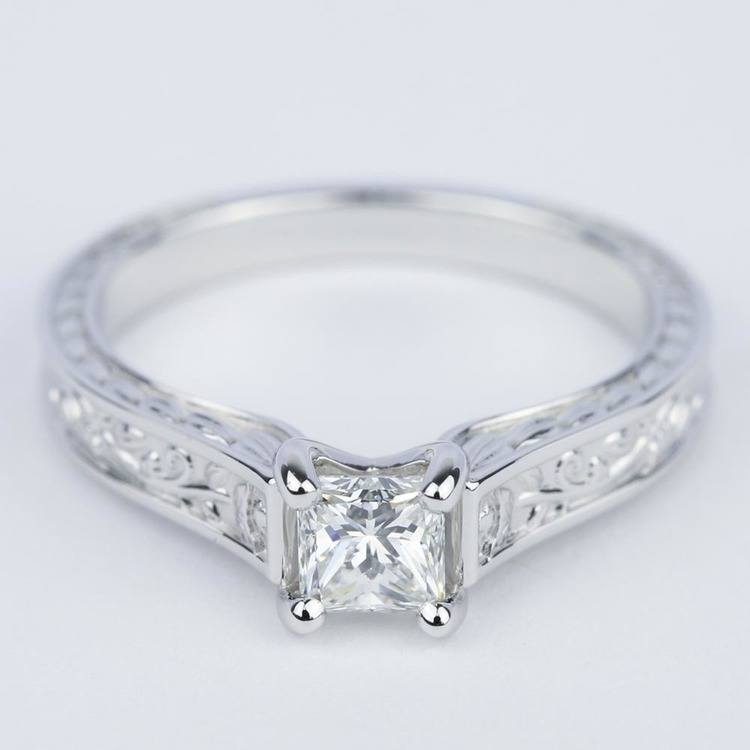 Antique Floral 0.63 Carat Princess Diamond Engagement Ring