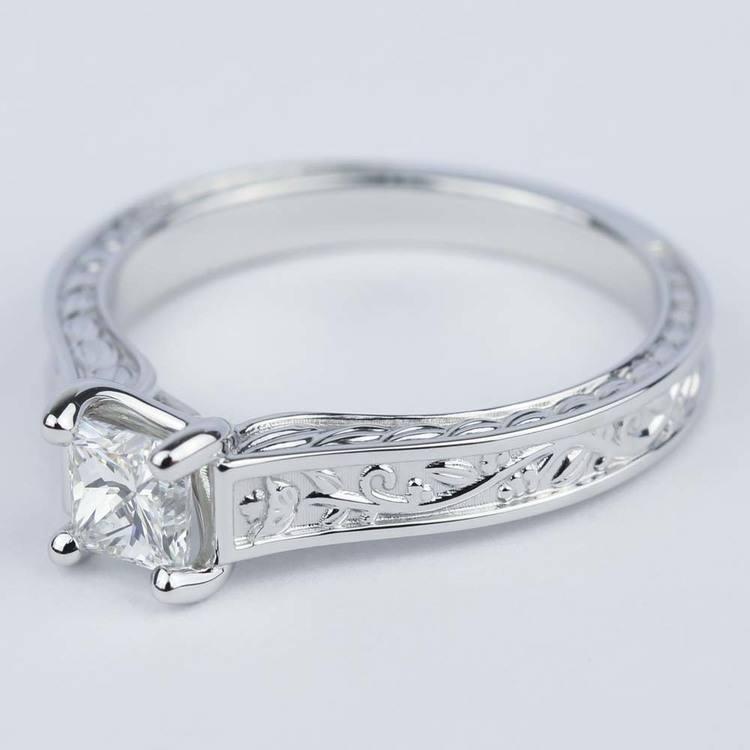 Antique Floral 0.63 Carat Princess Diamond Engagement Ring angle 2