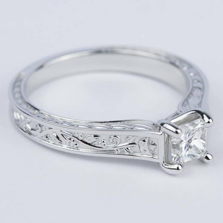 Antique Floral 0.63 Carat Princess Diamond Engagement Ring angle 3