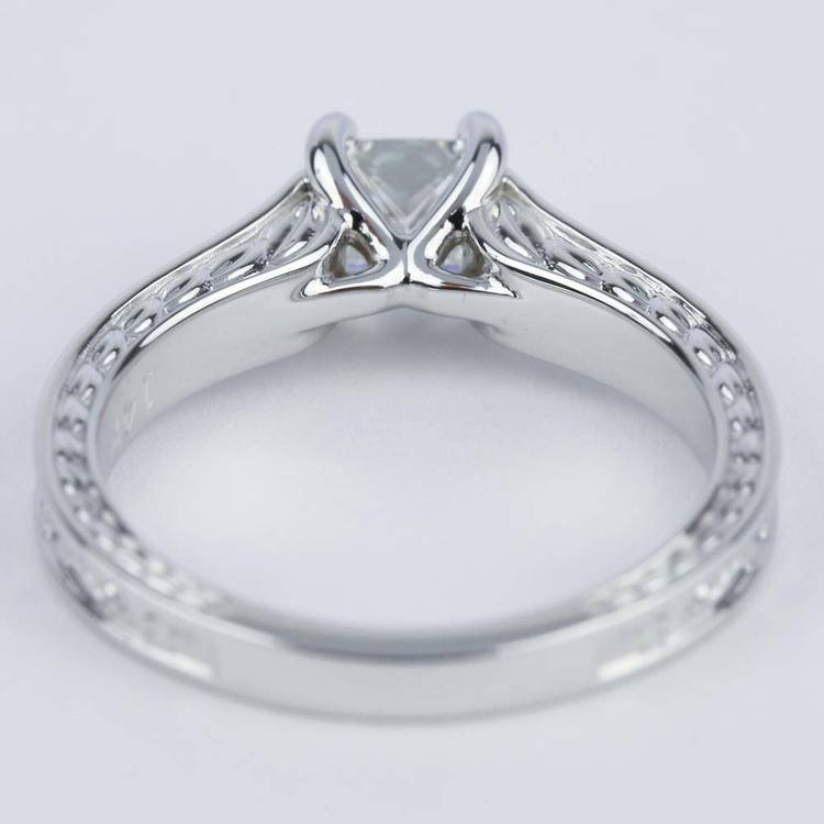 Antique Floral 0.63 Carat Princess Diamond Engagement Ring angle 4