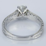 Antique Floral 0.90 Carat Oval Diamond Engagement Ring - small angle 4