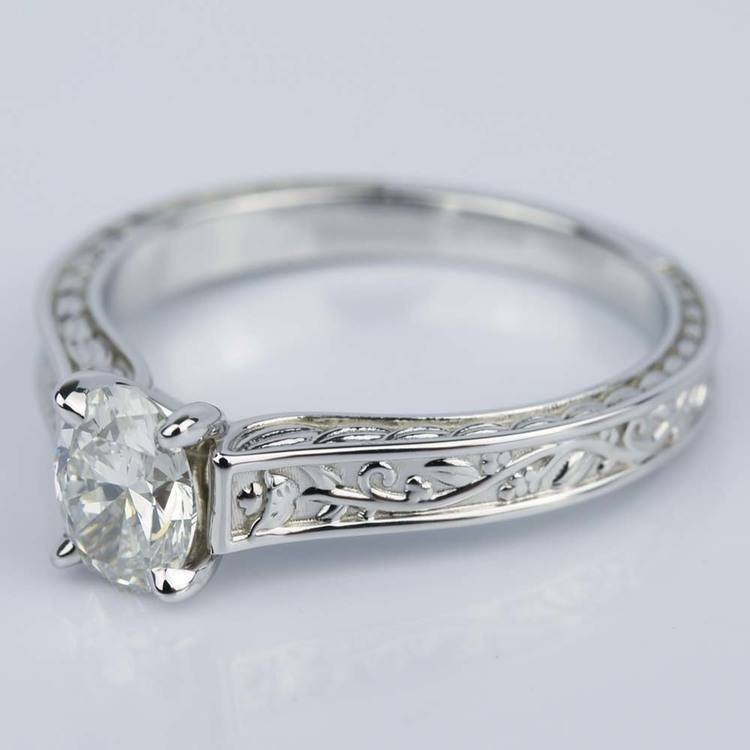 Antique Floral 0.90 Carat Oval Diamond Engagement Ring angle 2