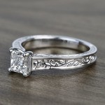 Antique Floral 0.90 Carat Princess Solitaire Diamond Engagement Ring - small angle 2