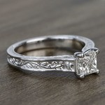 Antique Floral 0.90 Carat Princess Solitaire Diamond Engagement Ring - small angle 3