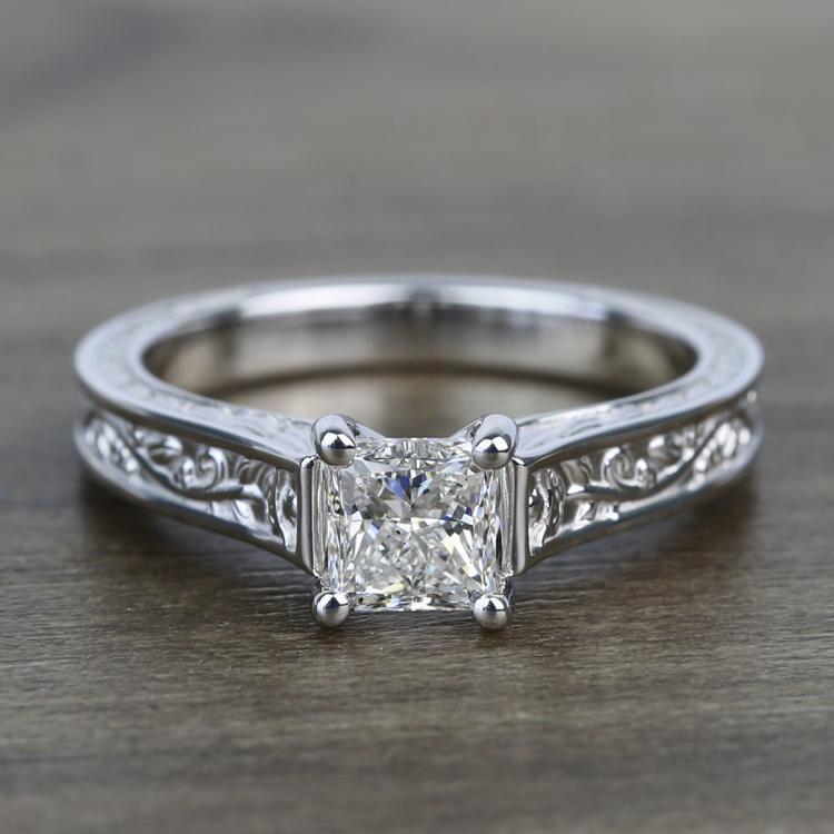 Antique Floral 0.90 Carat Princess Solitaire Diamond Engagement Ring