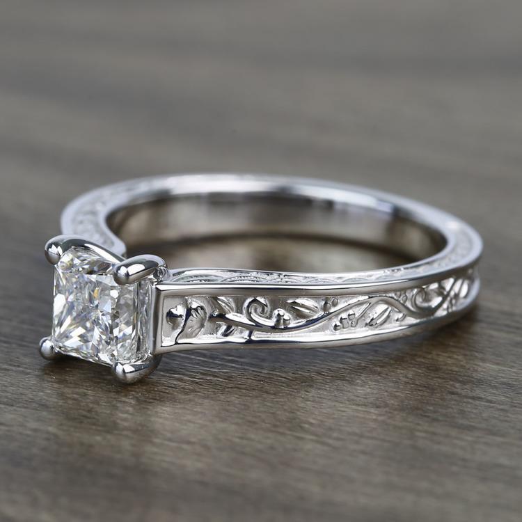 Antique Floral 0.90 Carat Princess Solitaire Diamond Engagement Ring angle 2