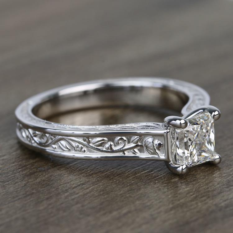 Antique Floral 0.90 Carat Princess Solitaire Diamond Engagement Ring angle 3