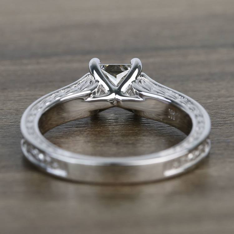 Antique Floral 0.90 Carat Princess Solitaire Diamond Engagement Ring angle 4