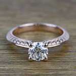 Antique Floral 0.92 Carat Round Knife Edge Diamond Engagement Ring - small