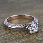 Antique Floral 0.92 Carat Round Knife Edge Diamond Engagement Ring - small angle 3