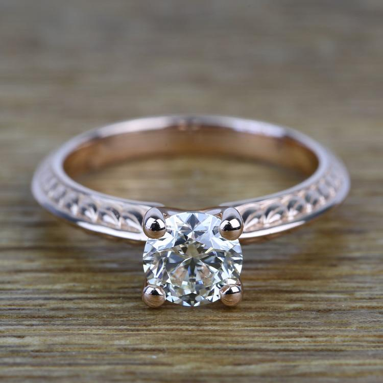 Antique Floral 0.92 Carat Round Knife Edge Diamond Engagement Ring