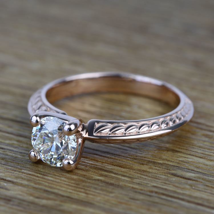 Antique Floral 0.92 Carat Round Knife Edge Diamond Engagement Ring angle 2