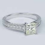 Antique Floral Princess Diamond Engagement Ring (1.25 Carat) - small angle 3