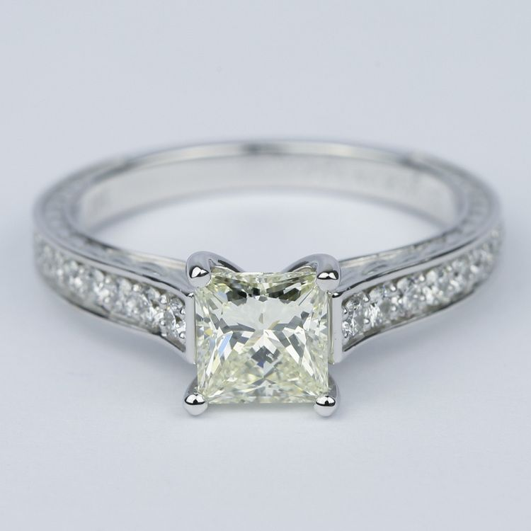 Antique Floral Princess Diamond Engagement Ring (1.25 Carat)