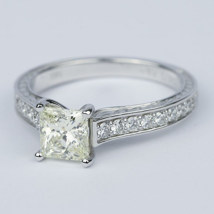 Antique Floral Princess Diamond Engagement Ring (1.25 Carat) angle 2