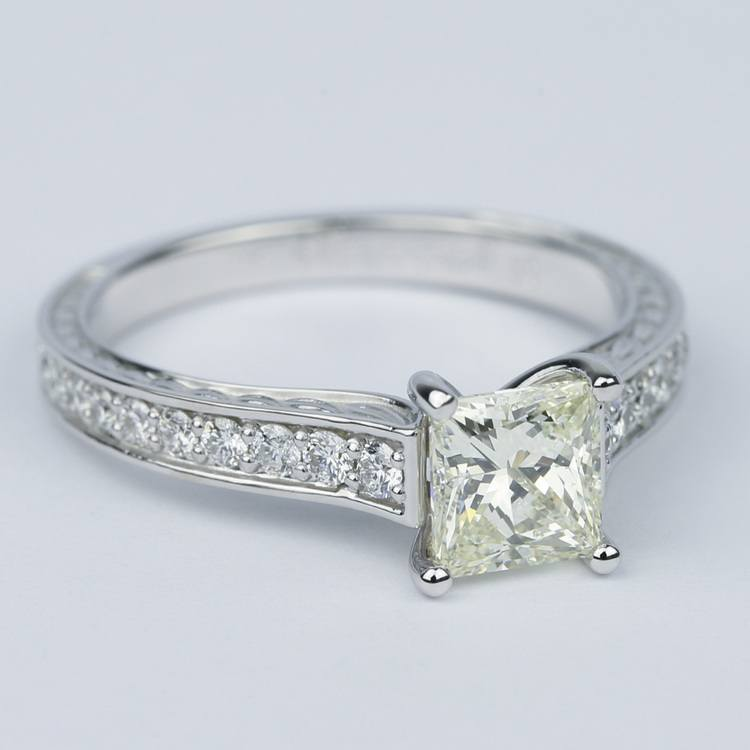 Antique Floral Princess Diamond Engagement Ring (1.25 Carat) angle 3