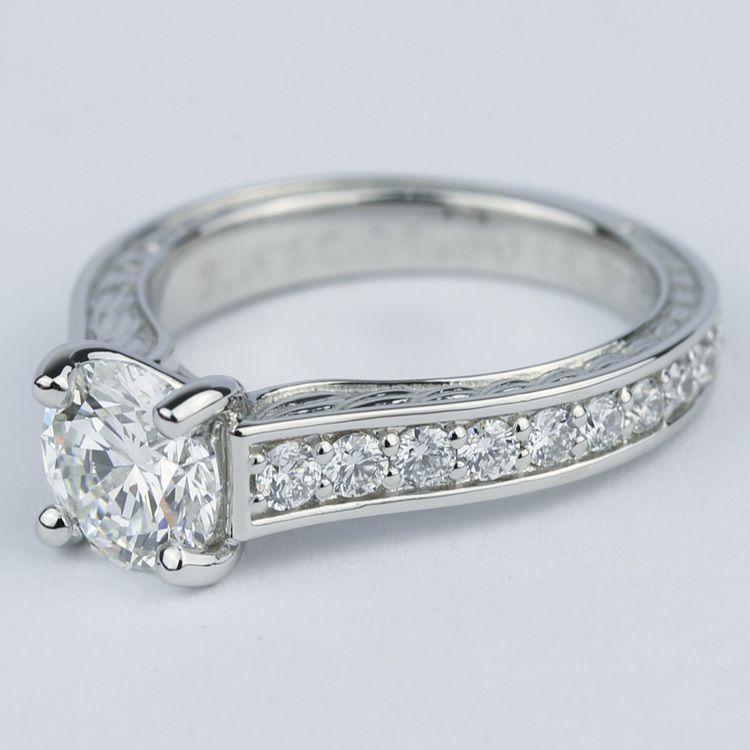 Vintage Floral Design Diamond Engagement Ring (1 Carat) angle 2
