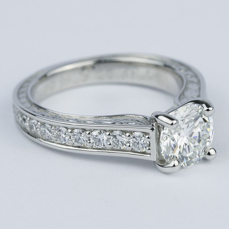 Vintage Floral Design Diamond Engagement Ring (1 Carat) angle 3