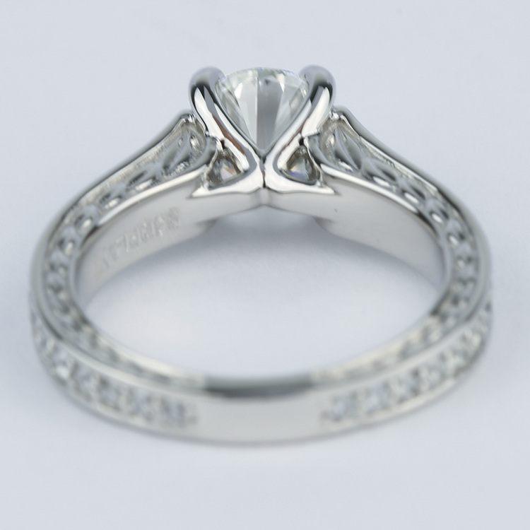 Vintage Floral Design Diamond Engagement Ring (1 Carat) angle 4