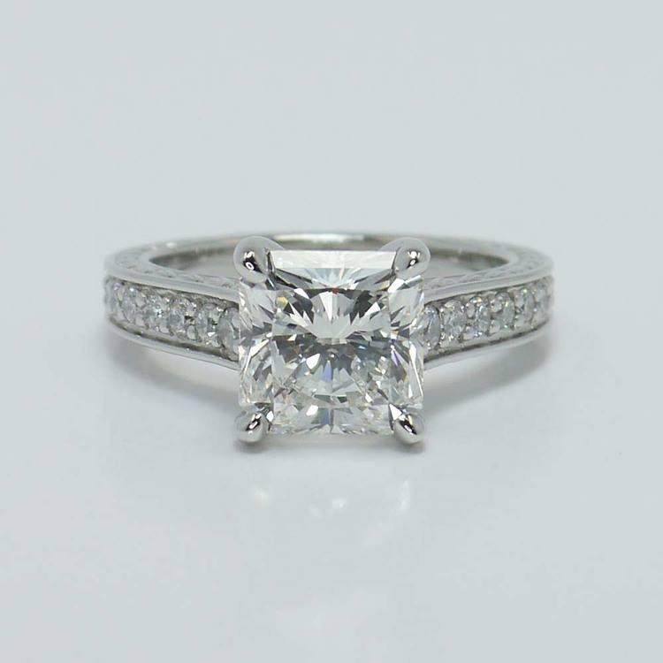 Flawless Radiant Diamond Antique Floral Platinum Ring (3 Carat)