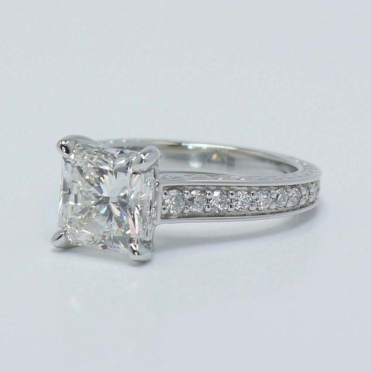 Flawless Radiant Diamond Antique Floral Platinum Ring (3 Carat) angle 3