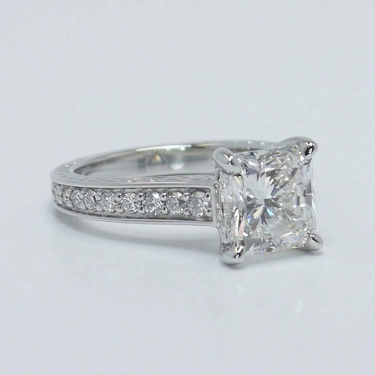 Flawless Radiant Diamond Antique Floral Platinum Ring (3 Carat) angle 4