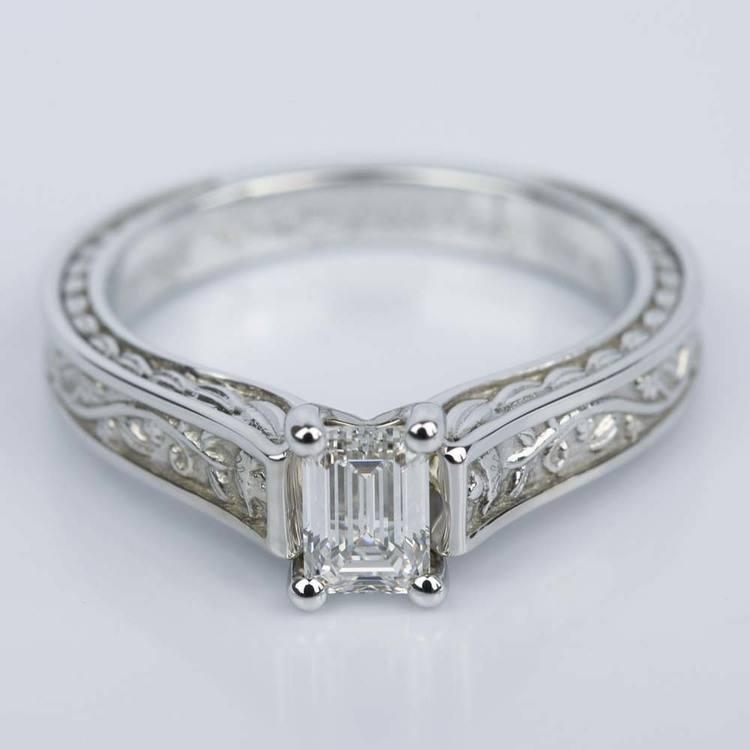 Antique Floral Solitaire Emerald Diamond Engagement Ring (0.54 ct.)