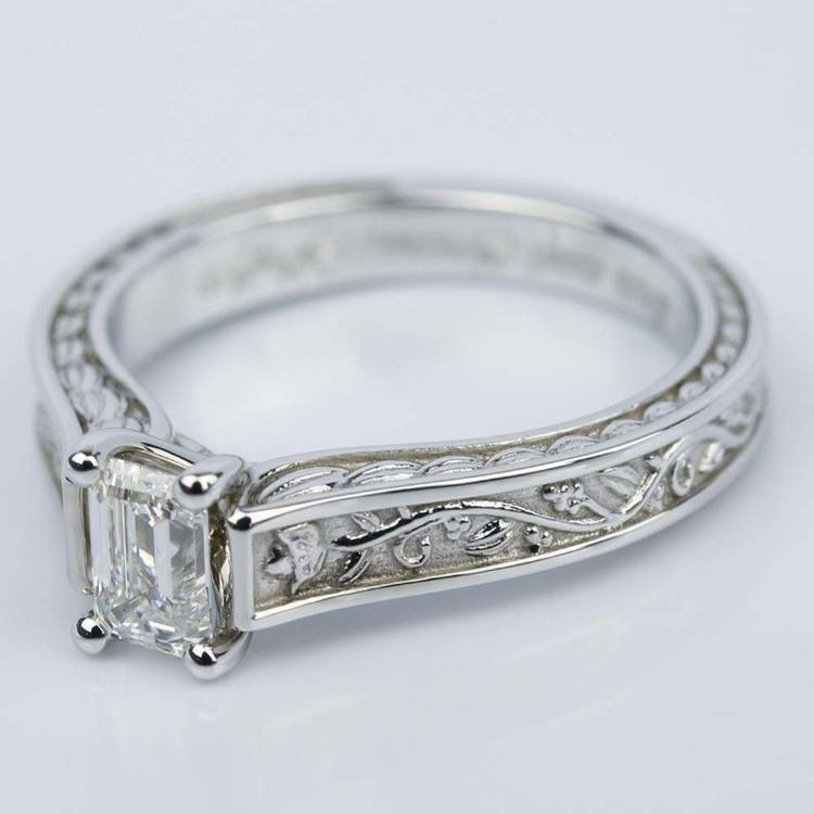 Antique Floral Solitaire Emerald Diamond Engagement Ring (0.54 ct.) angle 2