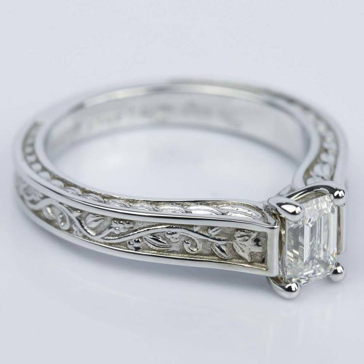 Antique Floral Solitaire Emerald Diamond Engagement Ring (0.54 ct.) angle 3
