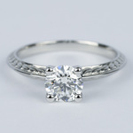 Antique Floral Knife Edge Diamond Engagement Ring (1 Carat) - small