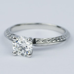 Antique Floral Knife Edge Diamond Engagement Ring (1 Carat) - small angle 2