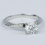 Antique Floral Knife Edge Diamond Engagement Ring (1 Carat) - small angle 3