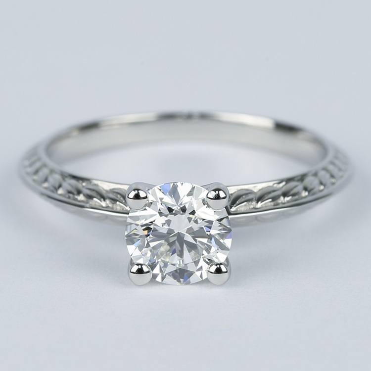 Antique Floral Knife Edge Diamond Engagement Ring (1 Carat)