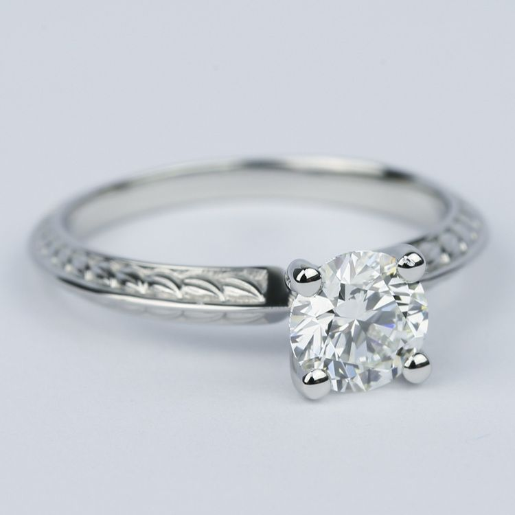 Antique Floral Knife Edge Diamond Engagement Ring (1 Carat) angle 3