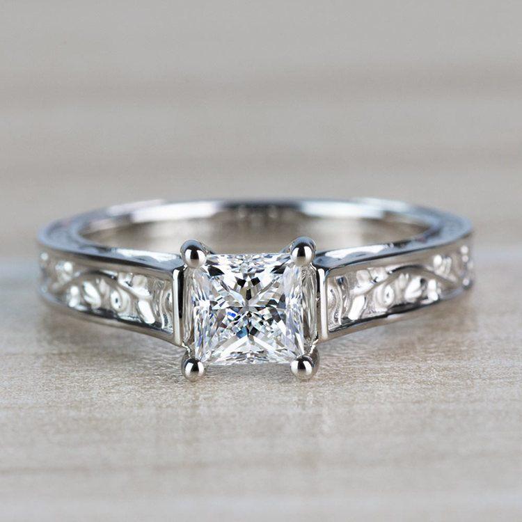 Antique Floral Princess Cut Diamond Engagement Ring