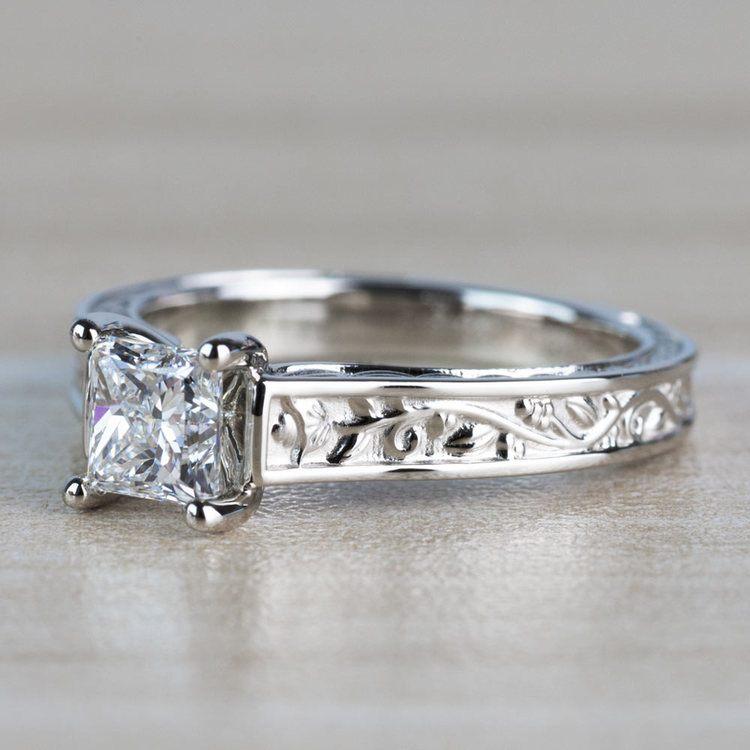 Antique Floral Princess Cut Diamond Engagement Ring angle 2