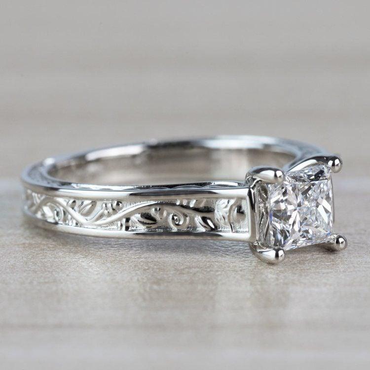 Antique Floral Princess Cut Diamond Engagement Ring angle 3