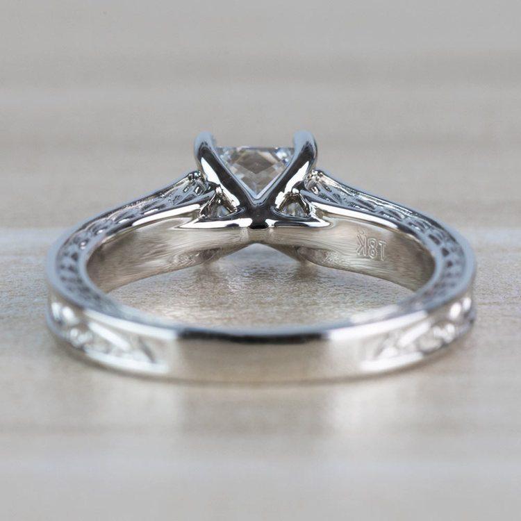 Antique Floral Princess Cut Diamond Engagement Ring angle 4